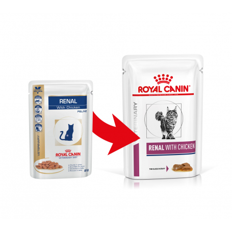 Royal Canin VDIET Kat Renal Chicken Pouch 12x85G